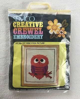SEMCO Creative Crewel Embroidery KIT 'Wise Eyes' OWL with yarns NEW & UNOPENED
