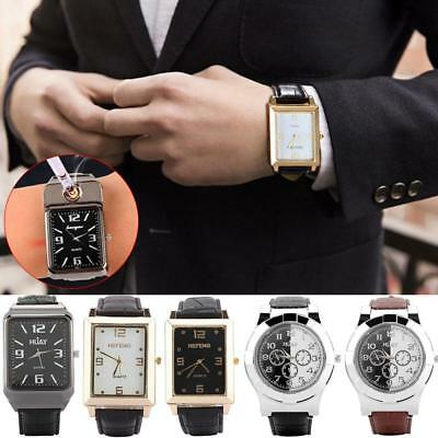 Military Men Lighter Watch USB Cigarette Rechargeable Windproof Flameless Gift