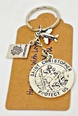 St Christopher patron saint of travellers & aeroplane keyring, travel gap year