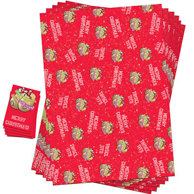 Funny Christmas Wrapping Paper Sheets Gift Tags Rude Her Women Wife Girlfriend