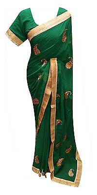 Women Indian Green SAREE short sleeve ready blouse party wear outfit dress 7208