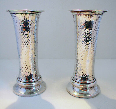Lovely Pair Antique 1903 ARTS & CRAFTS Sterling Silver Edwardian Planished Vases
