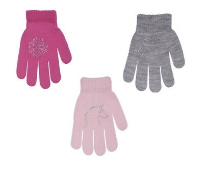 Girls Children Kids Acrylic Winter Gloves With Rhinestones Size 6 to 9 Years