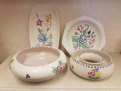 Job Lot of Vintage Hand Painted Poole Pottery Posy Bowl, Dish & 2 Plates VGC