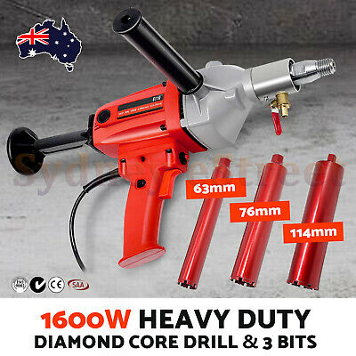 1600W Diamond Core Drill Machine & 3 Bits for Concrete, Stone, Brick, 1-1/4 UNC