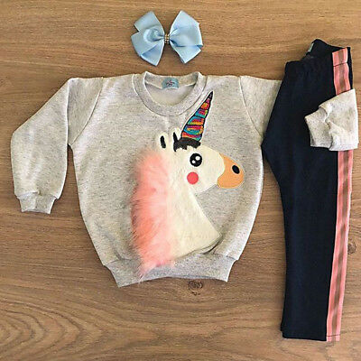 Newborn Toddler Kid Baby Girl Unicorn Top +Long Pant Outfit Sets Clothes 2pcs