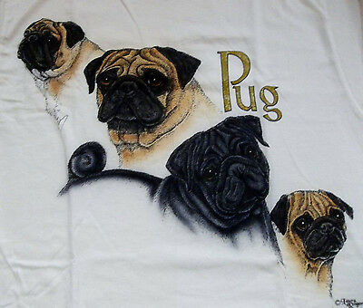 "Pug T-shirt  "" White ""  2XL ( 50 - 52 )"