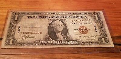 1935 HAWAII SILVER CERTIFICATE RARE US $1 Bill VINTAGE Hard To Find HAWAII STAMP
