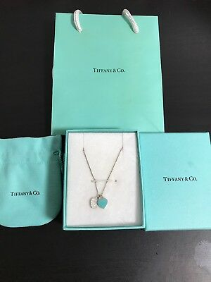 "Tiffany & Co 16"" Double Heart Blue Enamel 925 Sterling Silver Necklace/pouch"