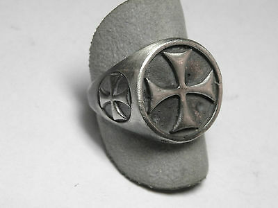 RING TEMPLAR silver burnished 925 sterling silver