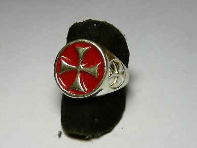RING TEMPLAR 925 silver AND ENAMEL sterling silver