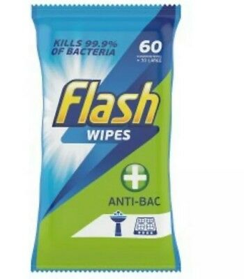 6 Packs of 60 Flash Strong Weave Anti-Bacterial General Cleaning Wipes -