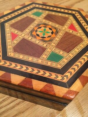 Vintage V. Molero Wood Inlaid Handmade Marquetry Hexagonal Box Made In Spain