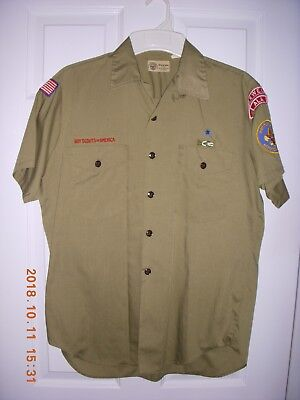 Boy Scout Adult Leader Shirt 1970's w/patches Short Sleeve