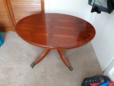 Regency Style Yew Wood  Oval Top Coffee Table