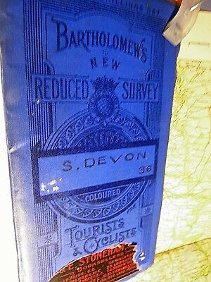 South Devon-1911 Antique Bartholomew & Cyclists' Touring Club Map- Topographic