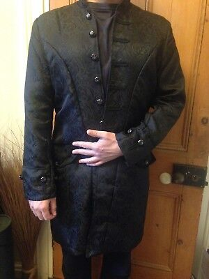 Mens Halloween 3/4 length Jacket - Black - Patterned Embossed - Size Medium
