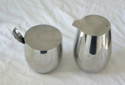 Bodum Columbia Polished Stainless Steel Sugar Bowl With Spoon And Cream Jug Set