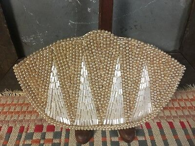 Vintage Faux Pearl And Mother Of Pearl Bead Evening Bag