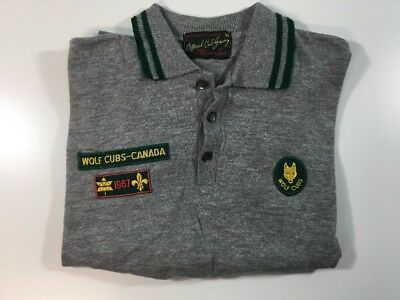 Vtg  Boy Scout - Canada Uniform Shirt  Badges Wolf Cub Canada Long Sleeve