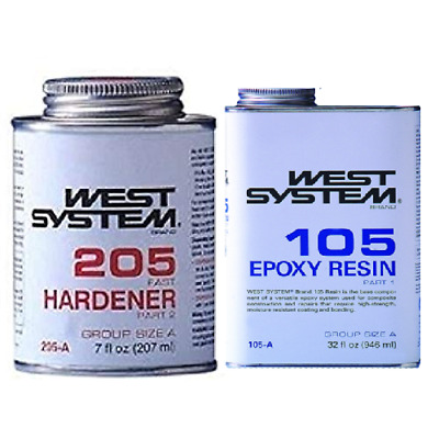 West Systems Marine Kit Epoxy Resin 105-A Quart & 205-A .44 Pint  Fast Hardener