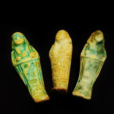 Set of 3 Ancient Egyptian Faience Ushabti (Shabti) Figure,Circa 600-300 B.C