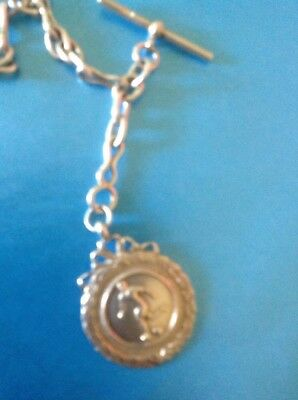 Silver 1920's Pocket Watch Chain And Silver Football Fob