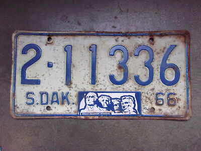 Vintage License Plate Sign Exp 1966 South Dakota SD As Is Car Tag