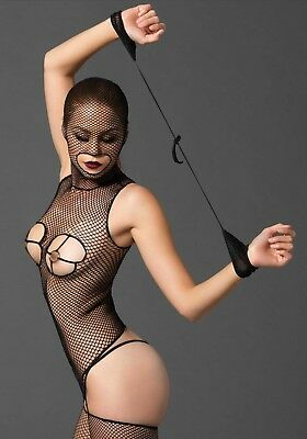 Sexy Bodystocking Nero Rete Cappuccio Seno Nudo Ring Body Fetish Reggicalze BDSM