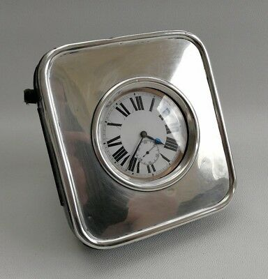 Vtg 1908 BT Greening Solid Silver Easel Desk Travel Goliath Pocket Watch Clock