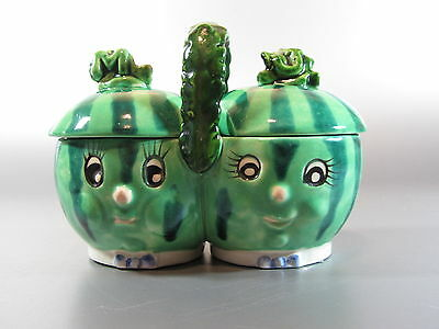 Jar anthropomorphic watermelon Green Marmalade Jar w/ Lid Jam Jelly Mustard Pot