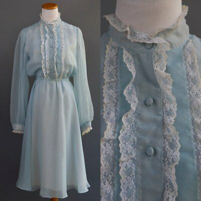 Vtg 70s Jack Bryan Dress High Collar Victorian Boho Hippie Blue Chiffon Lace S M