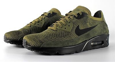 Nike Air Max 90 Ultra 2.0 Flyknit Running Shoes Olive Green Black  875943-302 New bf8cd2242