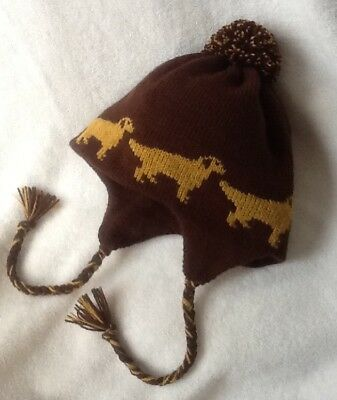 GOLDEN RETRIEVER dog knitted lined DARK BROWN ADULT SIZE TRAPPER EAR FLAP HAT