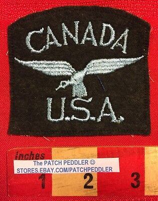 Vtg Mesh Back Travel Patch Canada USA Canadian Goose Geese CUT...no border.  576