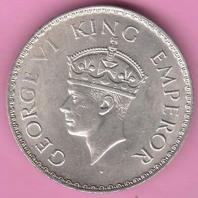 British India-1940-Bombay Mint-One Rupee-King George 6-Rarest Silver Coin-57