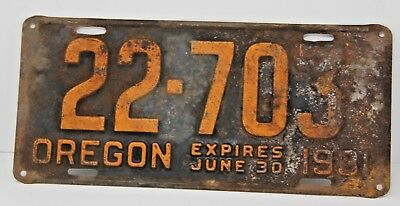 1931 Oregon License Plate Antique Vintage Rare Collectible Hot Rod Tag