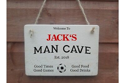 Your Name MAN CAVE Wood Personalised Vintage Wooden House Sign Plaque 21x9cm