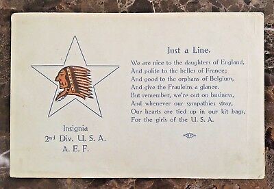 ORIGINAL WW1 2nd DIVISION 9th INFANTRY ID'D POSTCARD w/ A POEM TO THE GIRLS