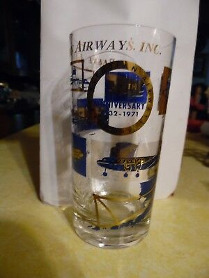 1971 Retro Vintage Reeve Aleutian Airways Glass Tumbler 39th Anniversary