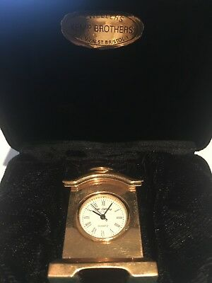 Gold coloured Brass Miniature Classic Carriage Mantle Clock with gift box (used)