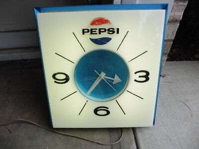 Original 1960s Pespi Cola Lighted Clock Wall Advertising Sign w Logo Works LOOK