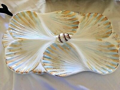CERAMIC SEASHELL PLATTER SERVING DISH Veggies/Dips , 6 sections, NEW IN BOX
