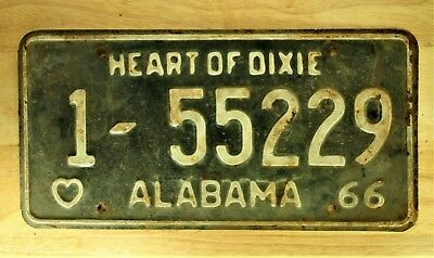 1966 Vintage Alabama Heart Of Dixie License Plate Auto Car Vehicle Tag Item 1124
