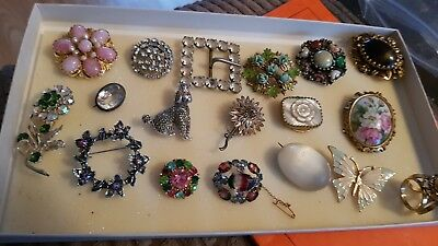 Job lot of antique  Vintage  Brooches butterfly poodle.  flowers nice look