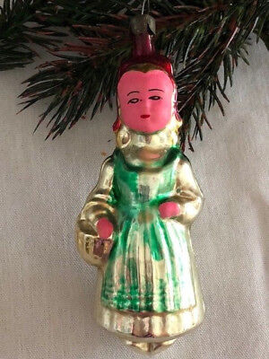 LITTLE RED RIDING HOOD ANTIQUE VINTAGE HAND BLOWN GLASS CHRISTMAS ORNAMENT1950's