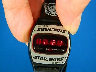 Vintage 1977 Star Wars Texas Instruments Red Led Digital Wrist Watch Works Rare