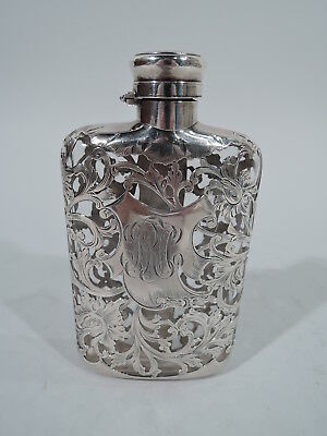 Gorham Flask - S960 - Antique Art Nouveau - American Clear Glass Silver Overlay