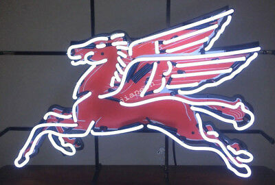 New Pegasus Flying Horse Mobil Gas Oil Pump Station REAL NEON SIGN LIGHT