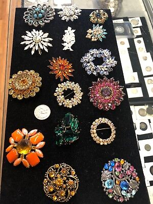 16pc Lot of Vintage Rhinestone Brooches Mostly Unsigned 50s 60s 70s!
